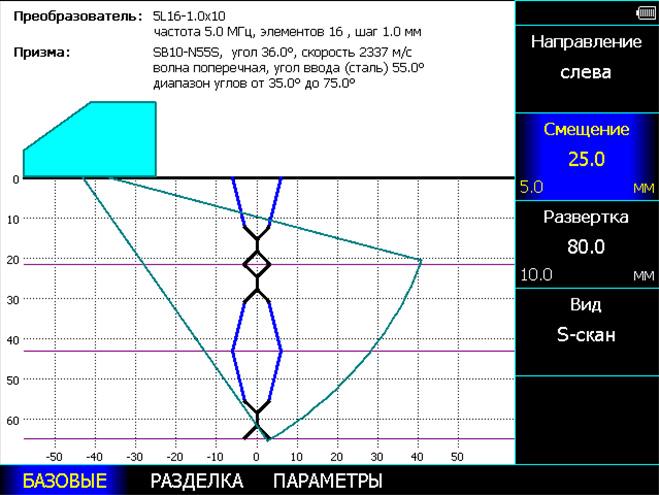 Конструктор сварного соединения, позволяющий задать геометрию сварного шва, положение преобразователя и режим контроля