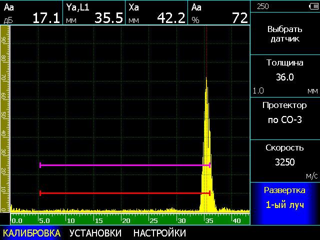 Автоматическая калибровка развертки и стробов при контроле сварных соединений