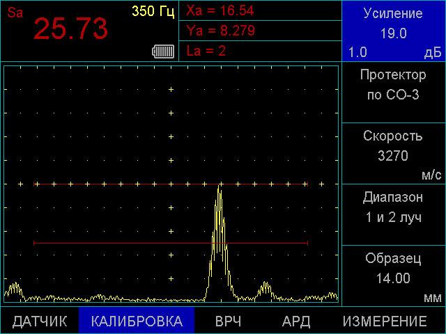 Одновременное отображении амплитуды сигнала, координат дефекта и номера луча